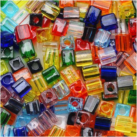- Miyuki 4mm Glass Cube Bead Mix Transparent Rainbow  10 Grams
