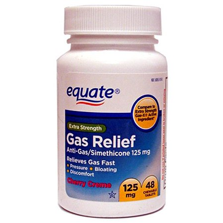 Equate Extra Strength Gas Relief Simethicone Chewable Cherry Creme Tablets, 125 mg, 48 Ct