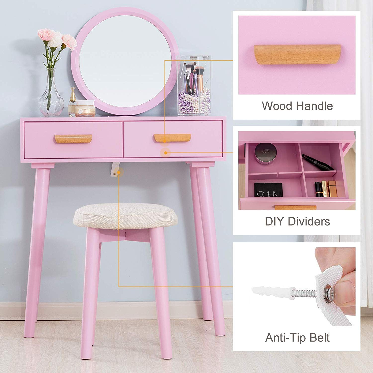 Mecor Vanity Table Wood Dressing Wall Mounted Mirror Makeup Set With Cushioned Stool Removable Cover Girls Women Bedroom Furniture Two Drawers Storage Pink Walmart Com