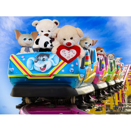 Canvas Print Emotions Soft Toys Teddy Fun Roller Coaster Joy Stretched Canvas 10 x 14 ()