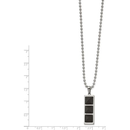 Stainless Steel Brushed & Polished Solid Black Carbon Fiber 22in Necklace - image 1 of 2