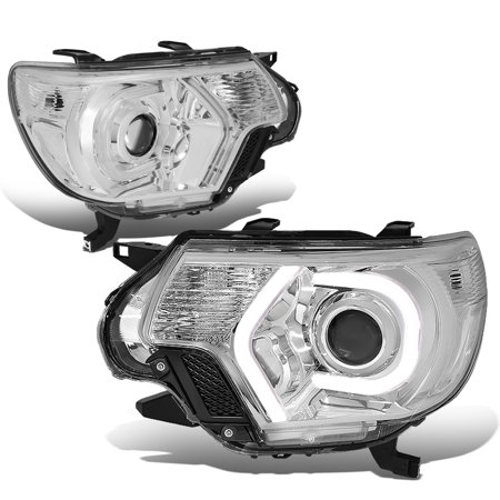 For 2012 to 2015 toyota Tacoma 3D LED Halo+LED DRL Light Bar Projector Headlight Chrome Housing Clear Corner Headlamp 13 14 13 14 Left+Right
