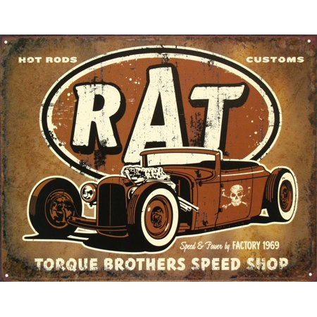 Rat Hot Rods Torque Brothers Speed Shop Tin Sign -