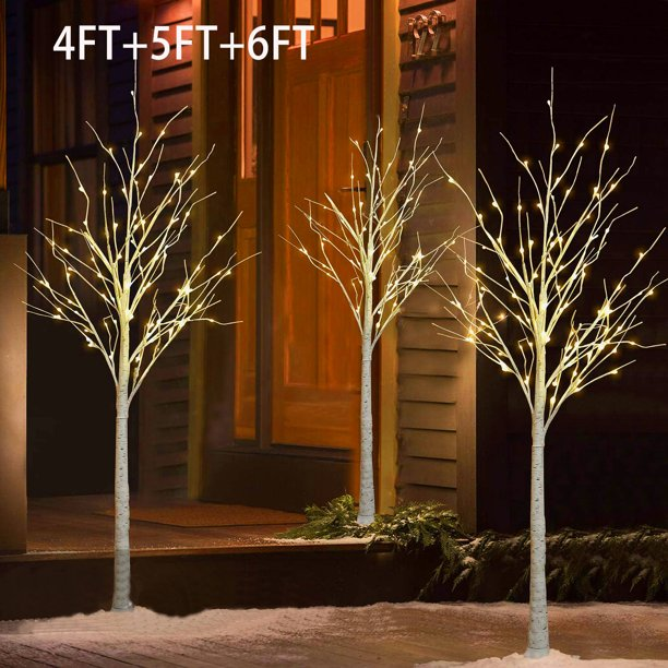 White Birch Tree 3, Outdoor Lighted Trees Artificial