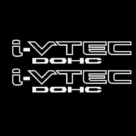 2x White i-VTEC DOHC Vinyl Decal Stickers Emblem Honda Acura ivtec