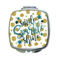 Smile Sparkle Shine - Gold/Blue Glitter Print Dots and Stars Design - Compact Square Silvertone Mirror