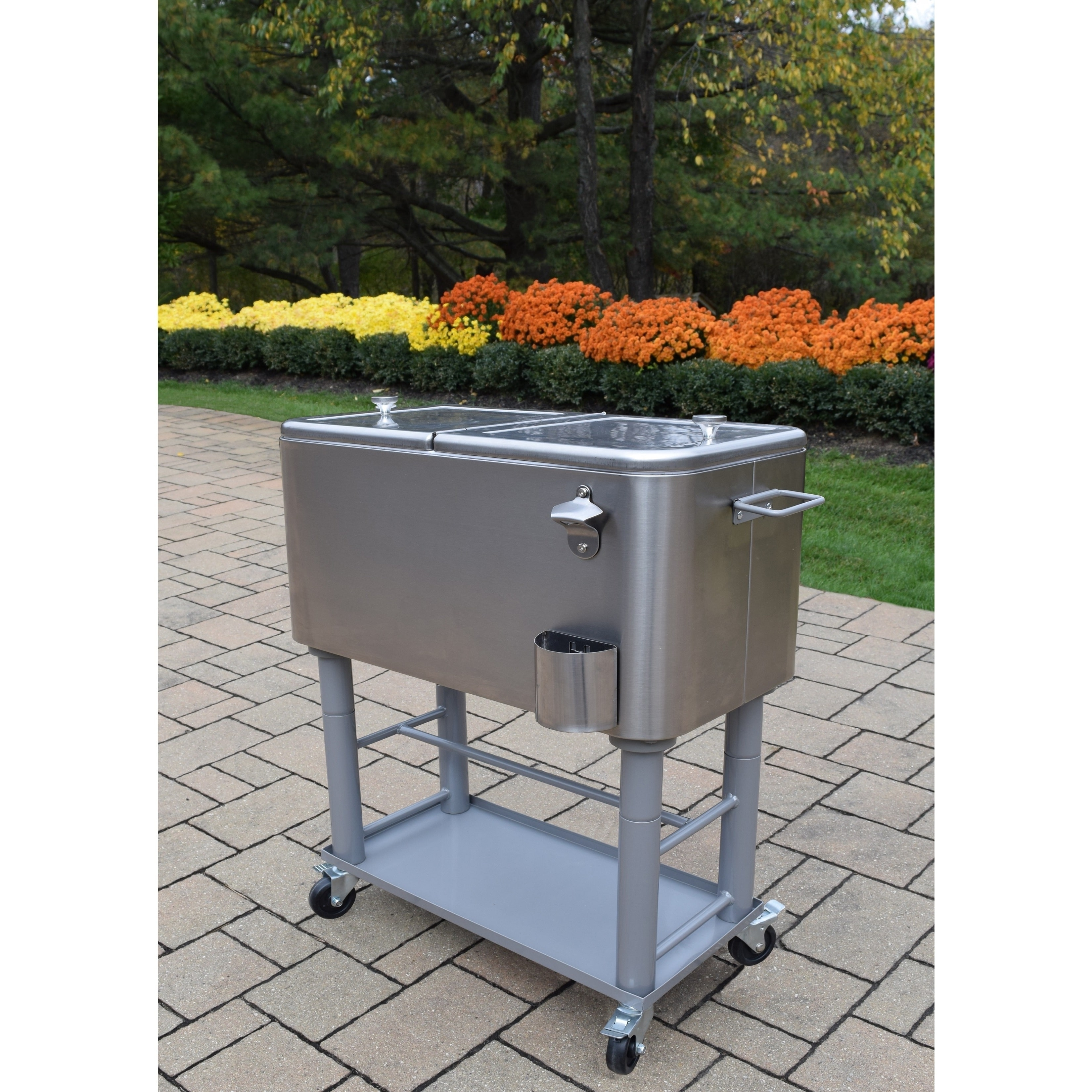 Oakland Living Corporation All-in-1 60 qt. Silver Finished Steel Detachable Cooler Cart