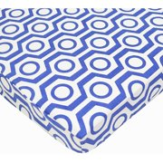 TL Care Cotton Percale Fitted Mini Crib Sheet, Royal Hexagon