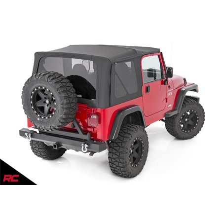 Rough Country Replacement Soft Top Black compatible w/ 1987-1995 Jeep Wrangler YJ w/Half Steel Doors RC84050.35 Install Jeep Soft Top