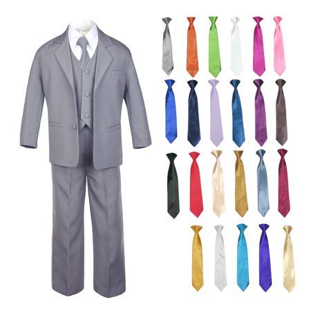 6pc Baby Toddler Boy Teen Formal Party Medium Gray Suit w/ Satin Necktie - M&m Outfit