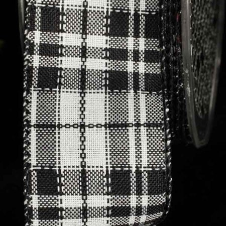 Black and White Plaid Pattern Wired Craft Ribbon 1.5