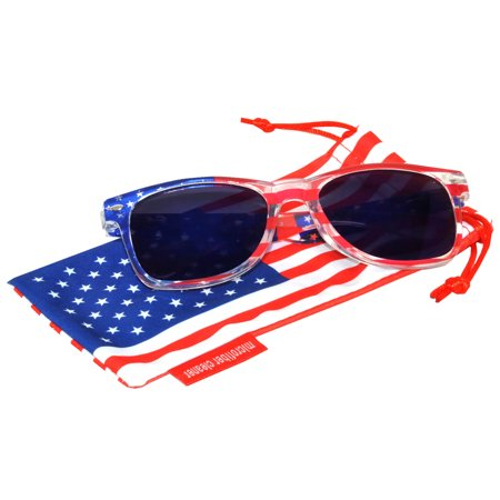 Classic American Patriot Sunglasses USA Clear American Flag Frame Blue Mirror Lens OWL with American Flag (Clear Frame Mirrored Sunglasses)