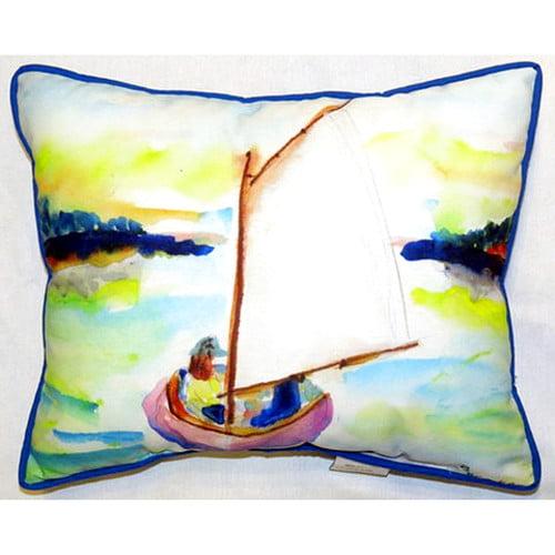 Betsy Drake Interiors Sailboat 24'' Indoor/Outdoor Lumbar Pillow