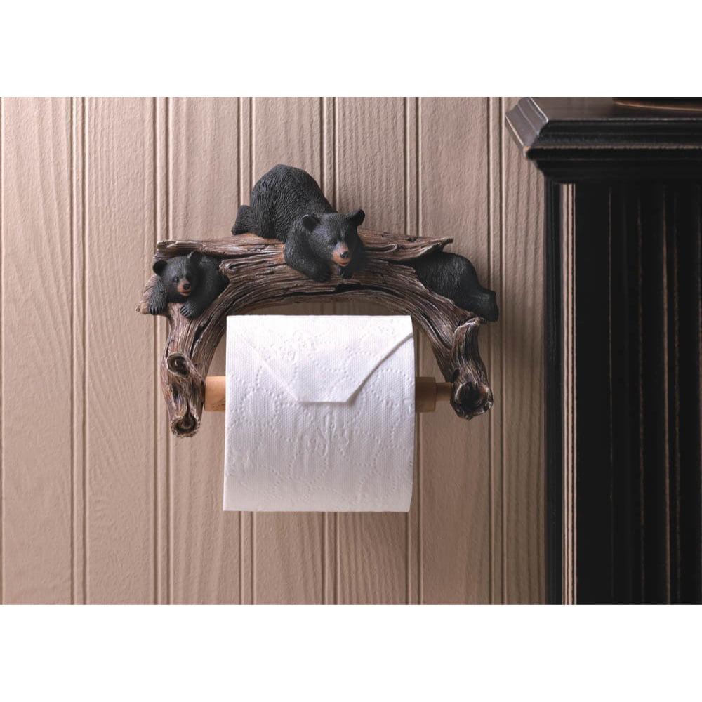 Eastwind Gifts 10016202 Black Bear Toilet Paper Holder - image 1 de 2