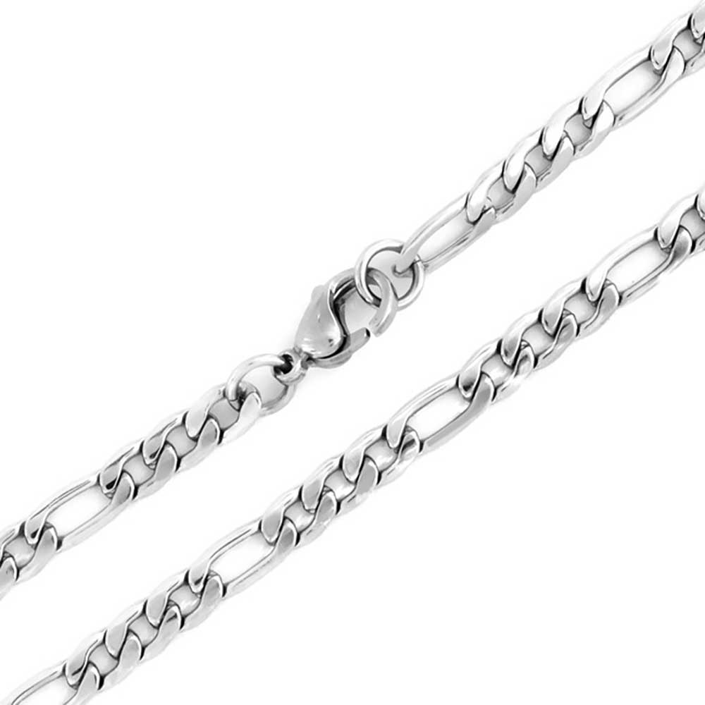 EDFORCE Stainless Steel Womens Mens 20 inch Figaro Link Chain Cross Necklace and Matching Bracelet 20