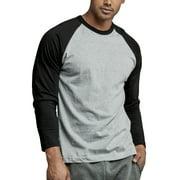 Men's Long Sleeve Baseball T-Shirt Jersey Raglan Two-Tone Active Tee