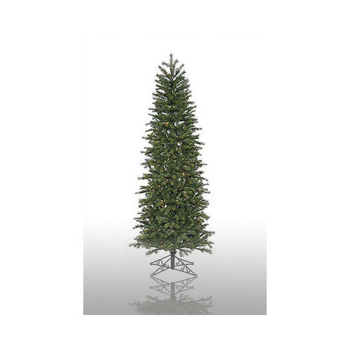 Vickerman Co. Redwood 9.5' Green Slim Artificial Christmas Tree with 550 Pre-Lit Multicolored Lights with Stand