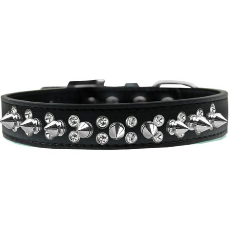 Mirage 627-SV BK18 Double Crystal and Silver Spikes Dog Collar Black - Size - Silver Dog