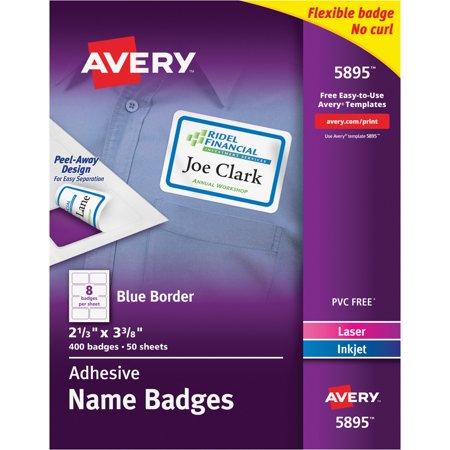 Self Expiring Badges (Avery Flexible Self-Adhesive Laser/Inkjet Name Badge Labels, 2 1/3 x 3 3/8, BE,)