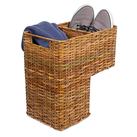 BIRDROCK HOME Stair Basket for Staircases | Wicker Woven Storage Bin for Stairs | Natural Brown Organizer Baskets | Cut Out Handles | Reduce Clutter ()