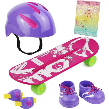 Click N Play Doll Skateboard Set And Accessories  Perfect For 18 Inch American Girl Dolls