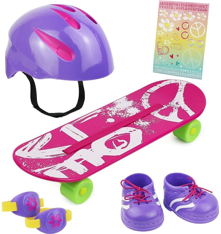 Click n' Play Doll Skateboard Set and Accessories. Perfect For 18 inch American Girl Dolls