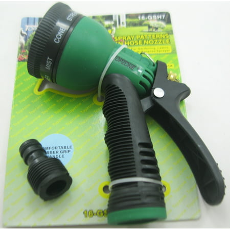 Garden Hose Green Nozzle Water Sprayer Sprinkler Head Insulated Nozzle 7 Spray Patterns with Connector