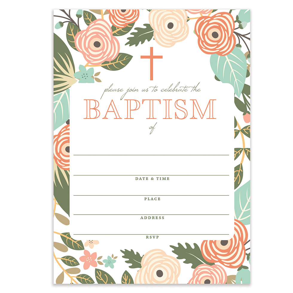 Pad Of 20 Blue Christening Invitations With Envelopes