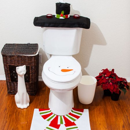 Christmas Decorations Happy Santa Toilet Seat Cover Rug Bathroom Set Snowman