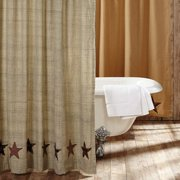 Tan Country Independence Day Bath Country Star Rod Pocket Cotton Button Holes for Shower Hooks Appliqued Textured Star Shower Curtain