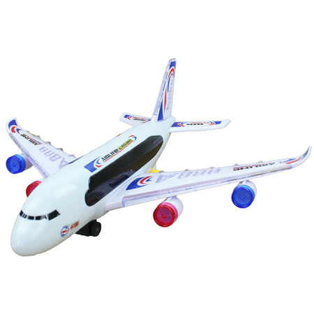 Battery Operated Bump and Go Light Up Toy Commercial Airplane, It Plays Music and It Makes Cool Realistic Airplane Sounds