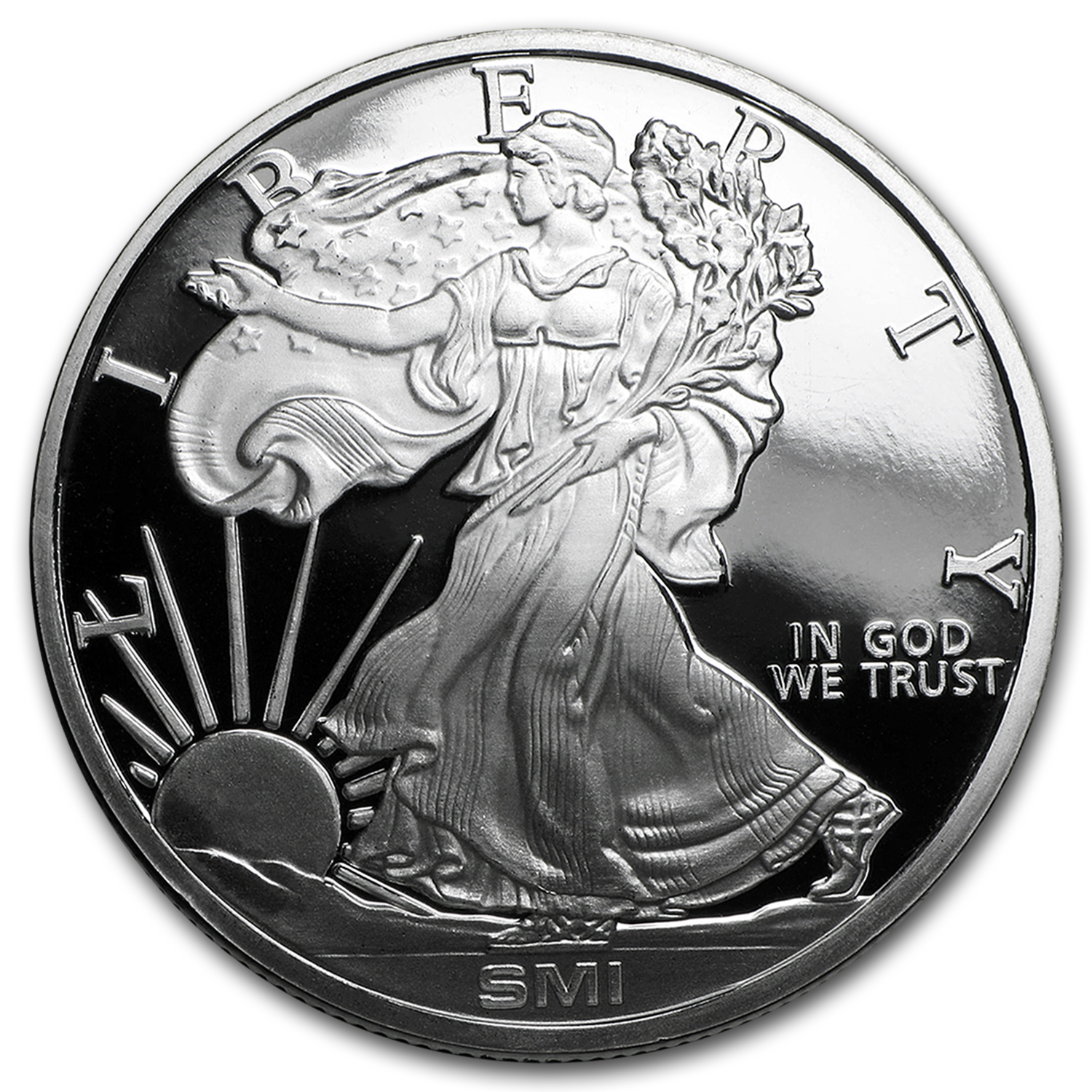 1 Oz Silver Round Walking Liberty Mintmark Si