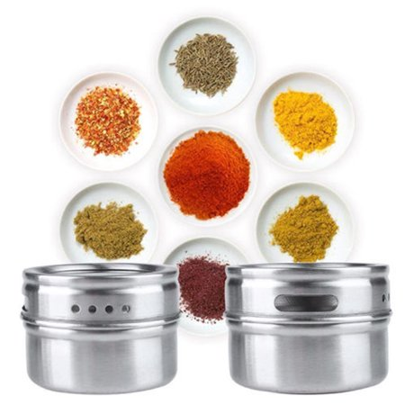 Mosunx Stainless Steel Magnetic Spice Storage Jar Tins Container With Rack Holder (Botanical Spice Jar)
