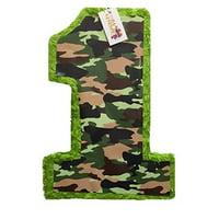 "APINATA4U 20"" Tall Green Camouflage Number One Pinata Woodland Theme"
