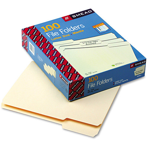Smead Guide Height Reinforced Heavyweight Kraft File Folder, 1/3 Cut Assorted, One-Ply Top Tab, Letter, Manila, 100/Box