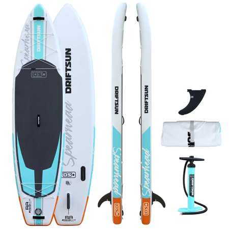 Driftsun Spearhead 11' Touring Inflatable Paddle Board Stand Up SUP Package with Travel Bag, Adjustable Paddle, Coil Leash and More, 11 Foot Long x 31 Inches