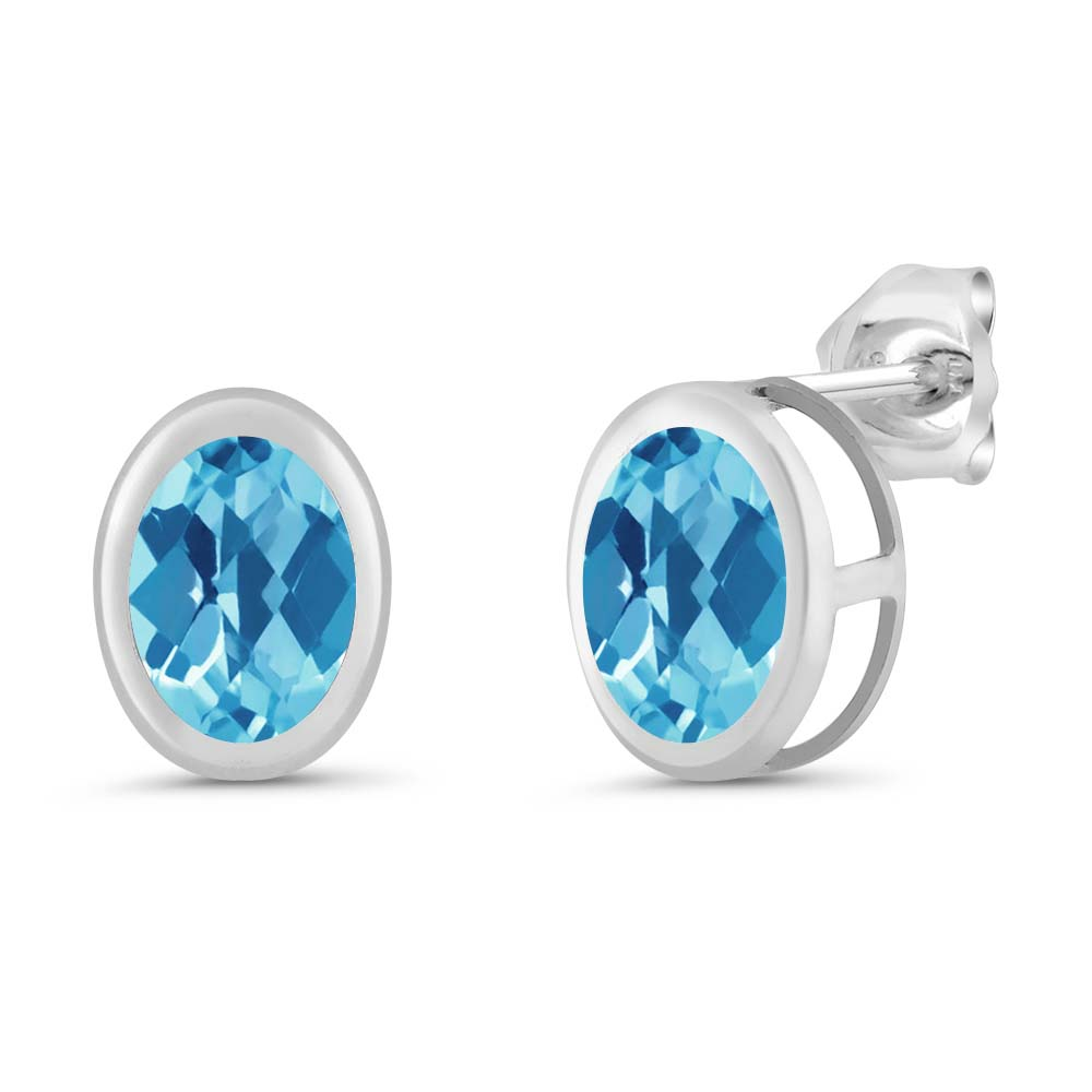1.90 Ct Oval Checkerboard Swiss Blue Topaz Sterling Silver bezel Stud Earrings 7x5mm