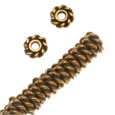 22K Gold Plated Pewter Twist Edge Spacer Beads 4mm (50)