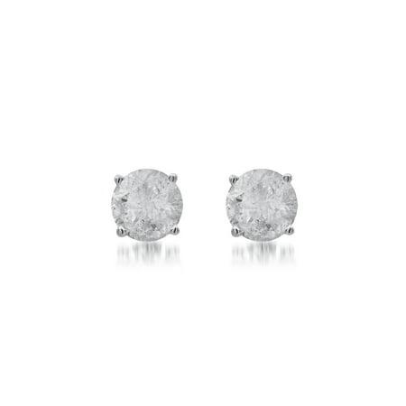 5/8 Carat T.W. Diamond Sterling Silver Stud Earrings. ()