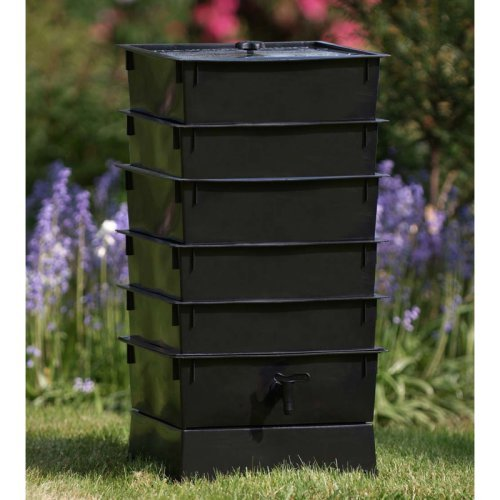The Worm Factory® 5-Tray Recycled Plastic Worm Composter - Black