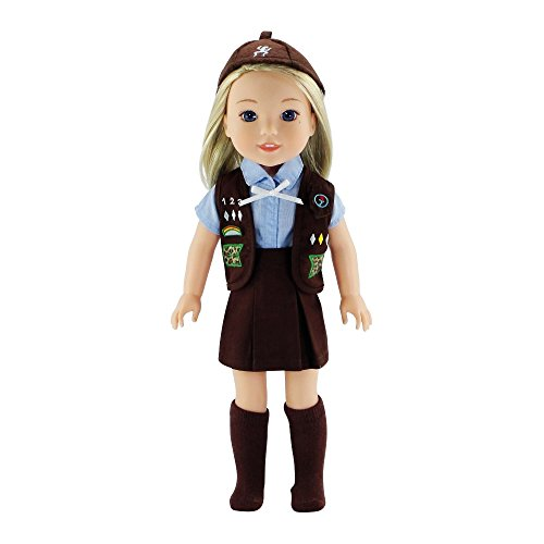 14 Inch Doll Clothes Clothing | Brownie Scout-Inspired Outfit, Includes Brown Skirt, Blue... by Emily Rose Doll Clothes