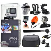 GoPro Hero 4 HERO4 Black CHDHX-401 with Headstrap + Chest Harness + Suction Cup + Handgrip + Floaty Strap + Wrist Hand Glove + Selfie Stick + Large Padded Case + HDMI Cable + Tripod adapter