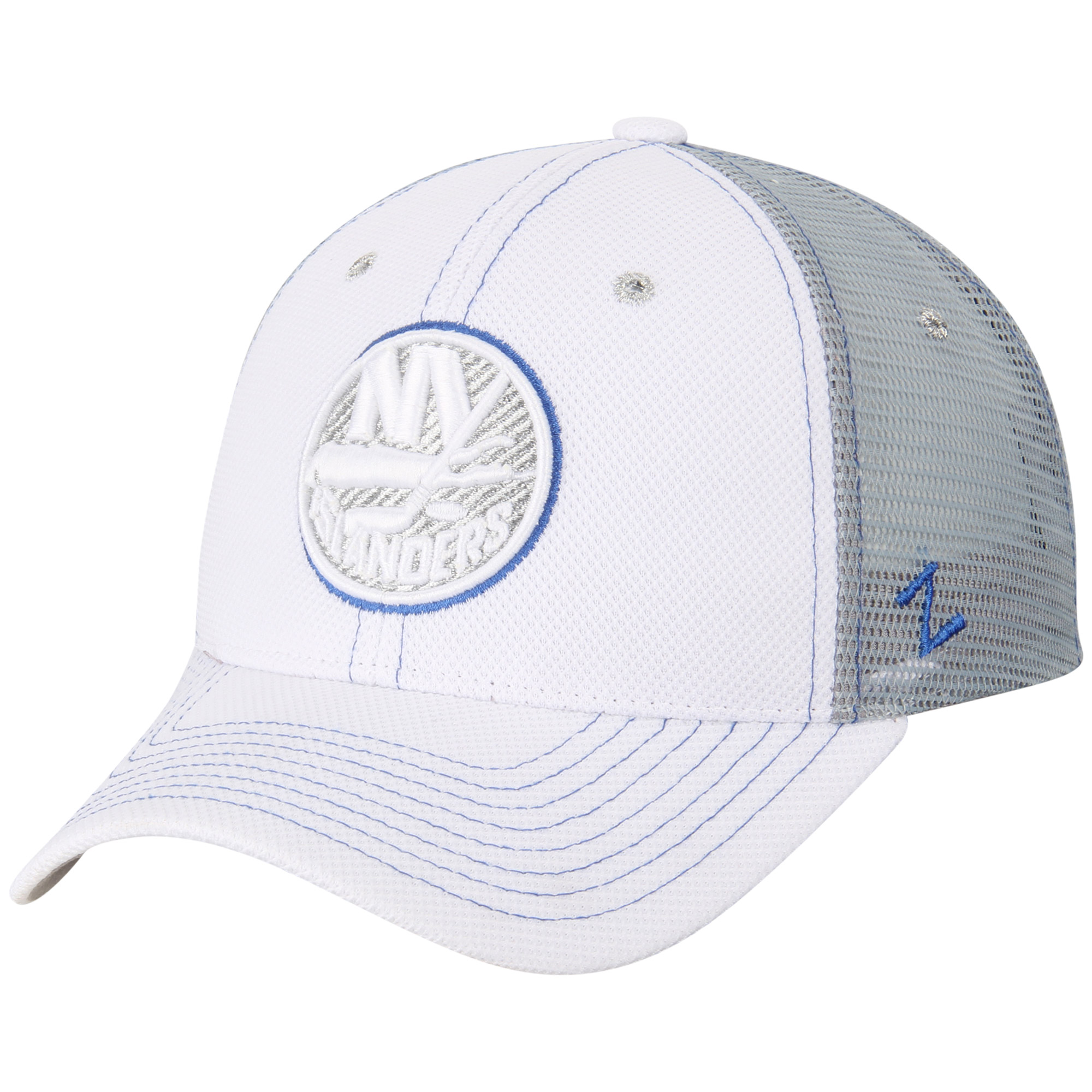 New York Islanders Zephyr Women's Cardio Trucker Snapback Adjustable Hat - White - OSFA