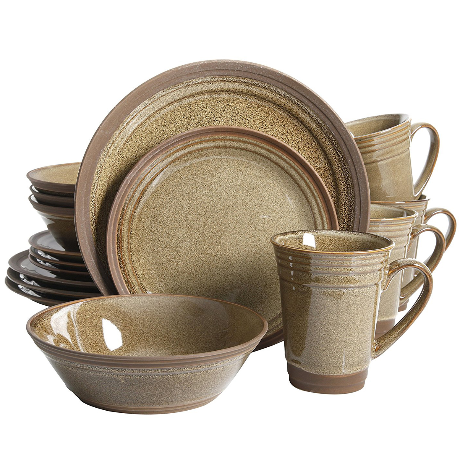Gibson Elite Brynn 16 Piece Dinnerware Set, Amber - Featuring ...