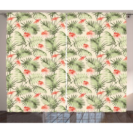 Leaf Curtains 2 Panels Set, Hawaiian Aloha Nature Pattern with Rainforest Elements Palm Branches Hibiscus, Window Drapes for Living Room Bedroom, 108W X 90L Inches, Peach Salmon Green, by Ambesonne