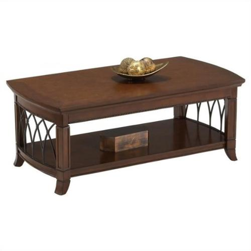 Cocktail Table w Metal Accents & Shelf in Warm Cherry Finish by Bernards