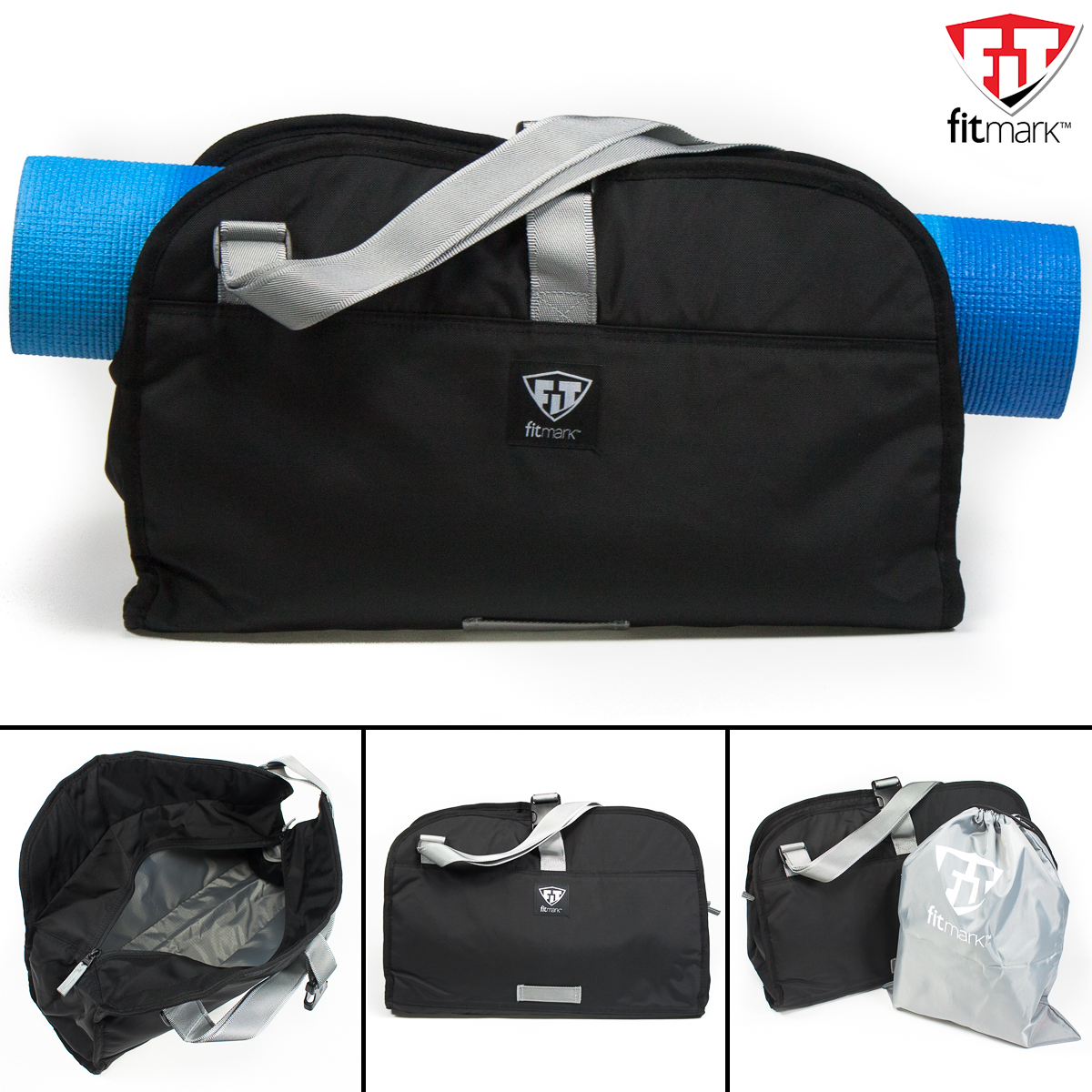 Fitmark Namaste Tote Gym Yoga Crossbody Messenger Duffle Black +Laundry Shoe Bag by