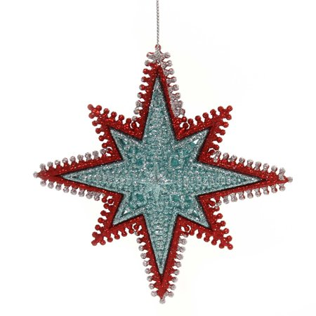 Holiday Ornaments STARBURST WIRED EDGING Plastic Red Gold - Starburst Reds