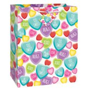 candy hearts valentines day gift bag 13 x 105 in