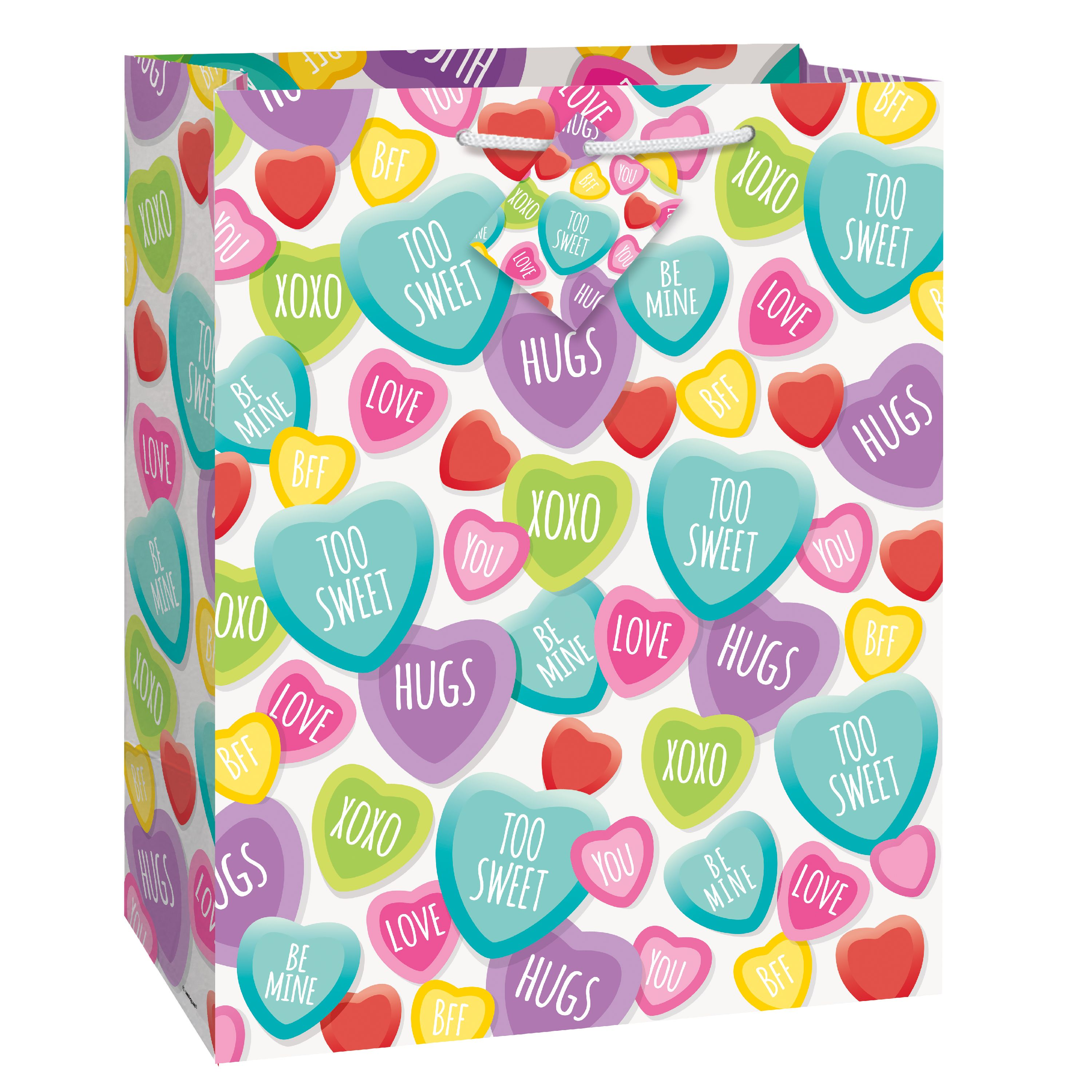 Candy Hearts Valentine's Day Gift Bag, 13 x 10.5 in, 1ct